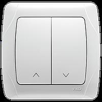 Carmen Белый Кнопочный выключатель управления жалюзи 2-х клавишный Viko