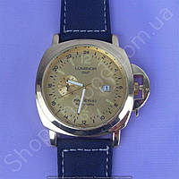 Часы Panerai Luminor GMT Automatic B149 мужские с календарем золотистые с золотым циферблатом на ремешке