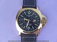 Часы Panerai Luminor GMT Automatic B149 мужские с календарем золотистые с черным циферблатом на ремешке