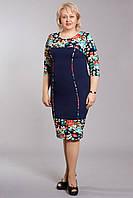 Женское платье с цветочным рисунком баталл