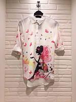 Молодёжная белая блузка с бабочакми