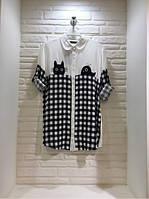 Молодёжная чёрно-белая блузка в клетку с котиком