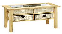 Столик журнальный (4 плетеный ящика) массив сосна  66х111х48см