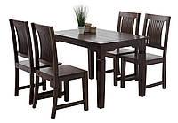 Обеденная группа ( стол коричневый + 4 стула) темно коричневые