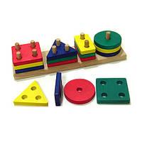 Пирамидка «Геометрик» 4 фигуры, Розумний Лис