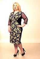 Платье женское батал Диана-запах (желтые цветы)52-58