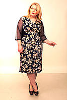Платье женское батал Диана-запах (кремовые цветы)52-58