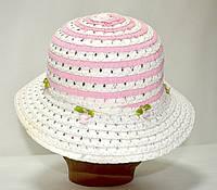 Шляпа летняя плетёная для девочки розовая