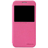 Кожаный чехол Nillkin Sparkle для Samsung Galaxy S6 розовый