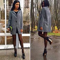 Женское стильное пальто из твида на одной пуговице (+ большие размеры)