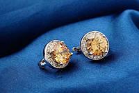 Серьги, покрытые белым золотом с цирконом цвета шампань код 979