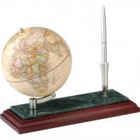 Набор настольный подарочный - Глобус на деревянной мраморной подставке