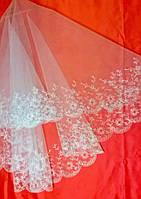 Свадебная фата с вышивкой (КВ-В-116) кремовая