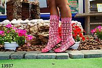 Женские летние сапоги из гипюра розовые