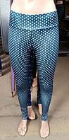 Женские лосины синего цвета в горохи