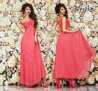 Нежное женское платье в пол на бретелях с высокой линией талии юбка шифон коралловое