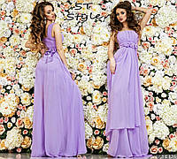 Красивое женское праздничное шифоновое платье в пол на широких бретелях с высокой талией бирюзовое нежно-фиолетового цвета