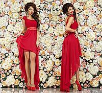 Вечернее женское платье с бретелей на одно плечо ассиметричной длины с атласным поясом красное