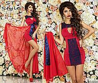 Коктейльное женское приталенное платье мини со съемной шифоновой юбкой красное