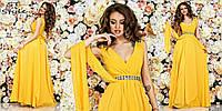 Очаровательное женское палтье в пол без рукавов со стразами на поясе желтое