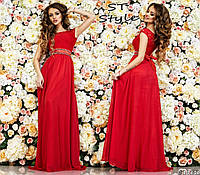 Очаровательное женское праздничное платье в пол с гипюровым верхом и шифоновой юбкой с атласным поясом со стразами морская красное