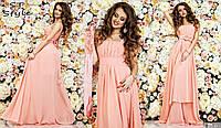 Красивое женское праздничное шифоновое платье в пол на широких бретелях с высокой талией персиковое