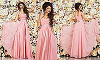 Вечернее женское атласное платье в пол клмбинированное с шифоном нежно розового цвета