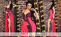 Экстравагантное женское мини платье с гипюром на тонких ретелях со съемной шифоновой юбкой коралловое