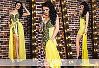Экстравагантное женское мини платье с гипюром на тонких ретелях со съемной шифоновой юбкой желтое