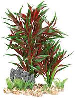 Красное растение для аквариума Trixie (Трикси) на каменной подложке, 28 см