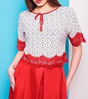 """Женская блузка, топ с кружевом """"Часики"""", размеры 42, 44, 46"""