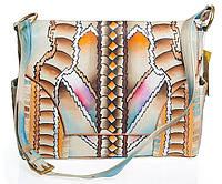 Женский модный кожаный портфель сручной росписью