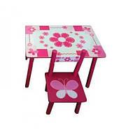 Стол и 2 стулки набор детской мебели розовый.
