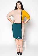 Платье из разноцветного фактурного трикотажа Большие размеры