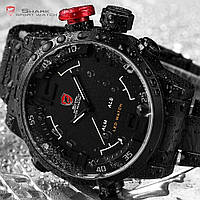 Мужские часы Shark LED Digital Date Day Alarm Black Military Quartz Men Sport Watch