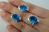 Комплект из серебра 925 с золотом и голубыми камнями