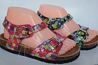 Детские босоножки для девочки в цветах на замочках Размеры 31-36