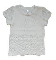 Ажурный джемпер для девочки, белого цвета, рост 122 см