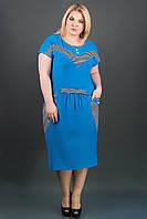 Яркий женский сарафан батал Джекки (голубой), фото 1