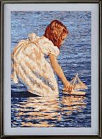 Бродери Арт В 200 Девочка с корабликом, набор для вышивания крестиком