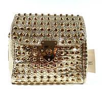 Клатч, сумочка женская с шипами 3340 золотистая, расцветки в наличии