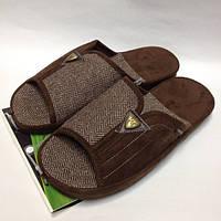Мужская обувь, комнатные тапочки с открытым носком на анатомической подошве, коричневого цвета
