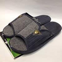 Мужская обувь, комнатные тапочки с открытым носком на анатомической подошве, серого цвета