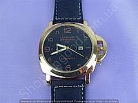 Часы Panerai Luminor GMT Ceramica B151 мужские с календарем золотистые с черным циферблатом на ремешке