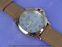 Часы Panerai Luminor GMT Ceramica B150 мужские с календарем золотистые с серебристым циферблатом на ремешке