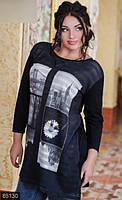 Удлиненная женская кофта с модным принтом  с разрезами по бокам рукав три четверти трикотаж батал Турция