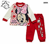 Красный костюм кофта, штаны Minnie Mouse для девочки. 6, 9, 12 мес