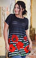 Удлиненная женская футболка с яркими красными маками рукав короткий трикотаж батал Турция