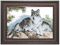 Набор для вышивания нитками Волки на камнях А-149