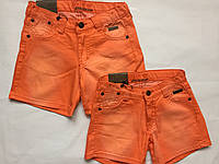 Детские джинсовые шорты  для девочек, оранжевый, 92-116